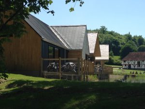 photo shows completed cedar shake roofs and standing seam zinc roofs by the lake at the open air museum in Chichester
